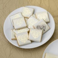 Vintage Romance Ivory & Gold Chocolate Squares (50)